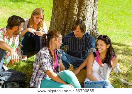 Students sitting in park talking smiling teens leisure campus schoolyard
