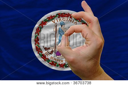 Ok Gesture In Front Of Virginia Us State Flag