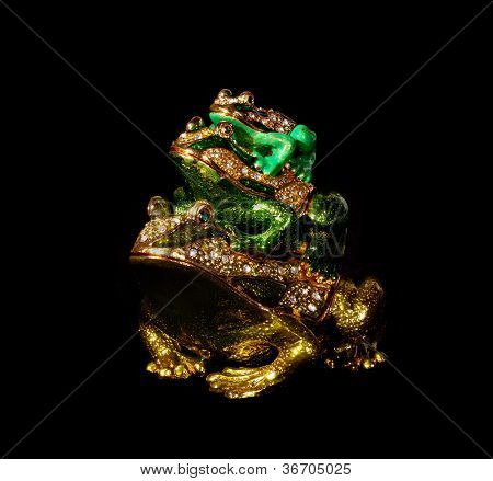 Metal Toad With Crystals On The Black Background (souvenir)