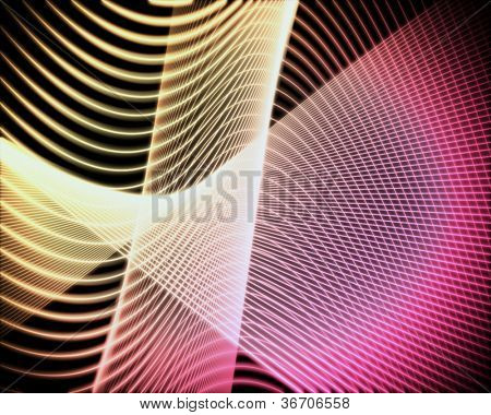 Background of volute of pink and yellow lines