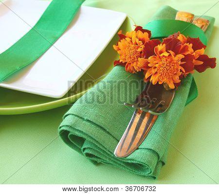 Decorative Green Serviettes With Flatwares