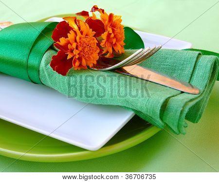 Decorative Autumn Serviettes With Flatwares