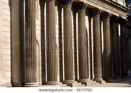 Stone Columns Outside The Bank Of England