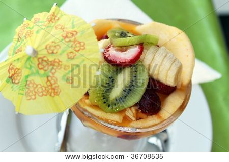 Fruit Salad With Kiwi, Strawberries, Bananas, Other Fruits And Yogurt
