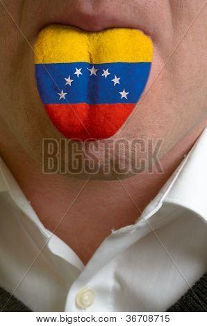 Man Tongue Painted In Venezuela Flag Symbolizing To Knowledge To Speak Foreign Language