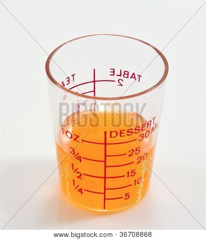 A Orange Liquid In An Erlenmeyer Flask Isolated On A White Background.