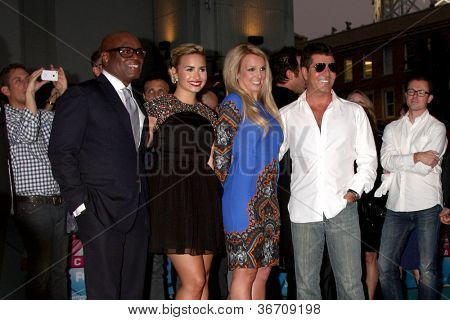 LOS ANGELES - SEP 11:  LA Reid, Demi Lovato, Britney Spears, Simon Cowell at the FOX  X-Factor Judges Handprint Ceremony at Graumans Chinese Theater on September 11, 2012 in Los Angeles, CA