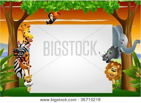 funny animal cartoon set with blank sign
