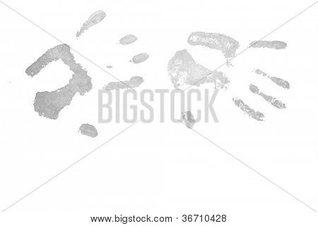 Two grey handprints against a white background