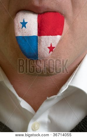 Man Tongue Painted In Panama Flag Symbolizing To Knowledge To Speak Foreign Language