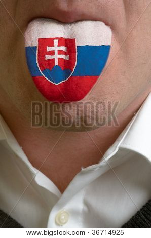 Man Tongue Painted In Slovakia Flag Symbolizing To Knowledge To Speak Foreign Language