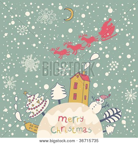 Merry Christmas. Cartoon vector background for nice backgrounds and holiday cards