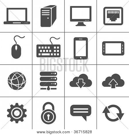 Simplus series icon set. Network and mobile devices. Network connections