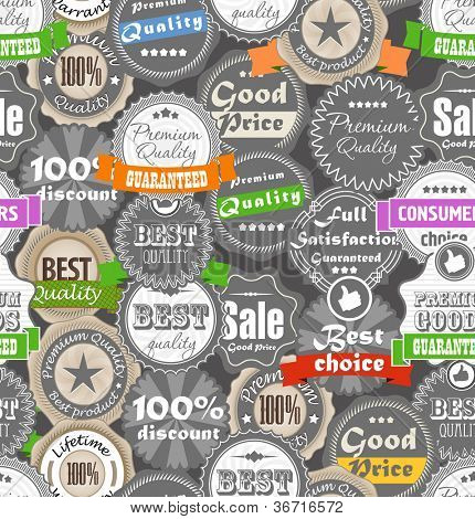 Seamless background of shopping quality labels