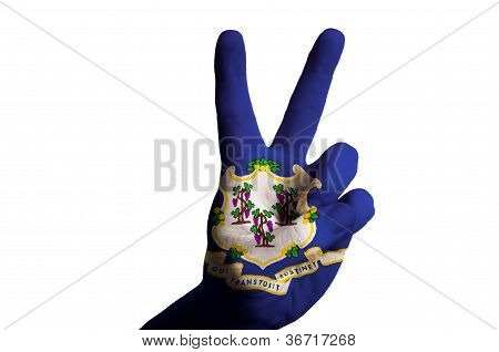 Connecticut Us State Flag Two Finger Up Gesture For Victory And Winner Symbol Made With Hand