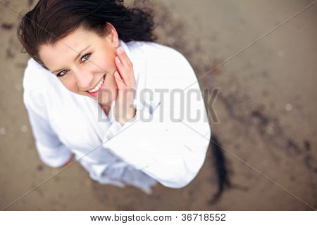 Woman Smiling For The Camera Looking Fresh In The Morning