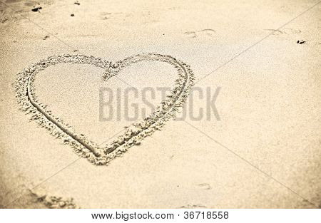 Heart Shape Drawn On Sand
