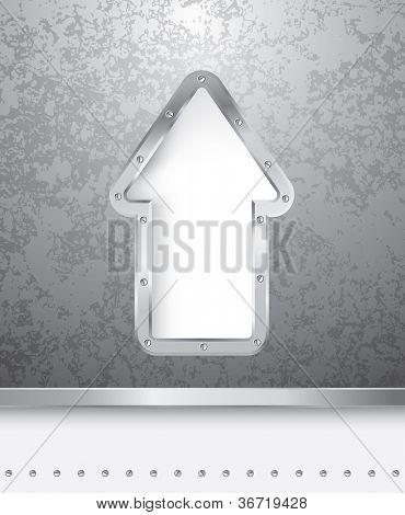 Vektor-Illustration der Grunge-Metallplatte mit perforierten Pfeil