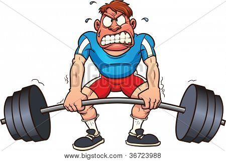 Cartoon weightlifter struggling. Vector illustration with simple gradients. All in a single layer.