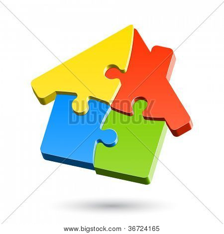 Puzzle house. Vector.