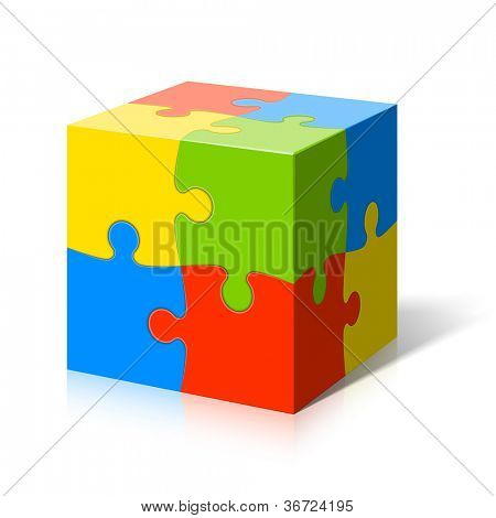 Puzzle cube. Vector.