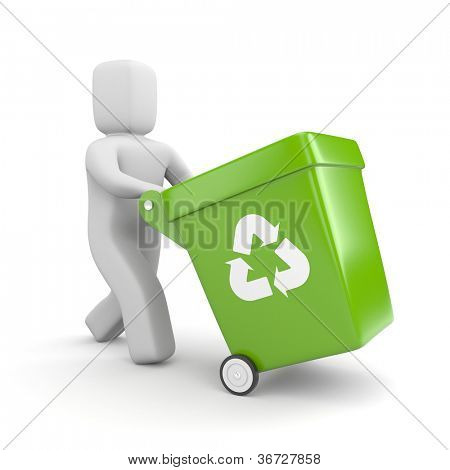 Person with green recycling bin