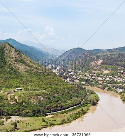 Panoramic View From Narikala Fortress  Tbilisi, View To Historical Part Of The Capital Of Republic O