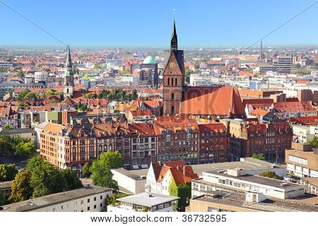 Panoramic view of Hanover city, Germany