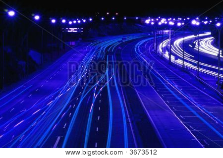 Highway At Night In Blue