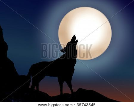 Wolf Howling Over The Full Moon