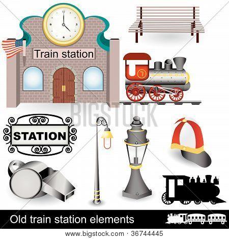 Elementos de la estación de tren antiguo