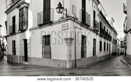 CORDOBA, SPAIN - MAY 16: Conde y Luque Street, in La Juderia district, on May 16, 2012 in Cordoba, Spain. La Juderia is the most tourist district in the city, full of souvenir shops and restaurants
