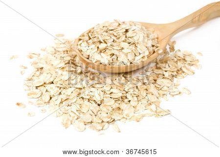 Oatmeal In A Wooden Spoon