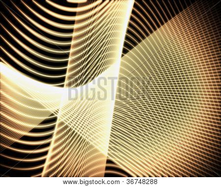 Background of volute of yellow and gold lines