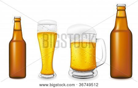 Beer In Glass And Bottle Vector Illustration
