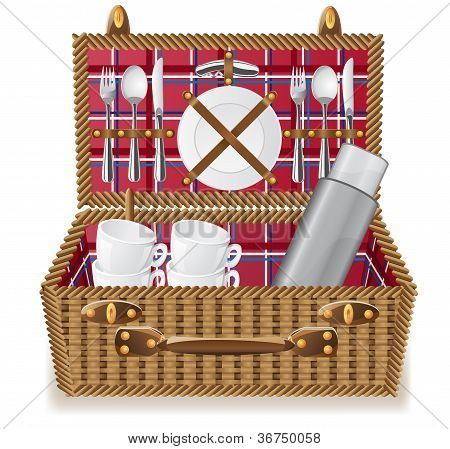Basket For A Picnic With Tableware