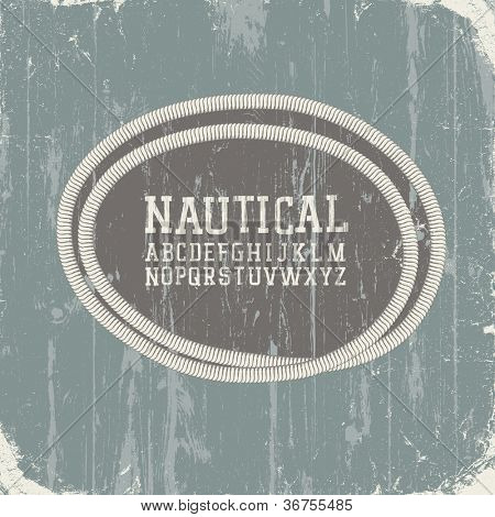 Vintage nautical card with retro alphabet. Raster version, vector file available in portfolio.