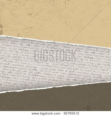 Vintage torn background with handwriting. Raster version, vector file available in portfolio.