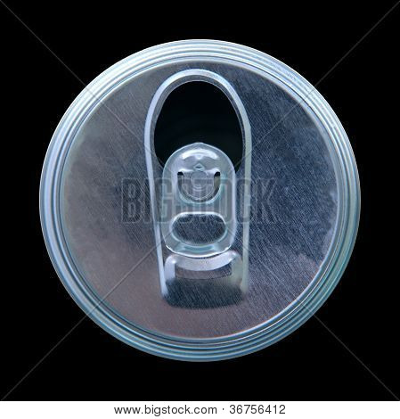 top view of opened can isolated on black