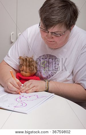 Mentaly Disabled Woman Is Painting