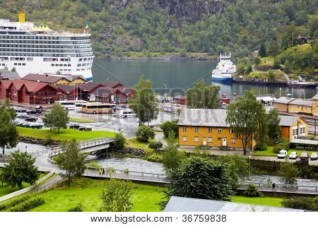 FLAM - JULY 27: Ships Costa Luminosa, Lady Elisabeth and Fjord Kongen in Flam cruise harbour, July 27, 2011, Flam, Norway. Flam is a popular tourist destination and one of Norways most popular ports.