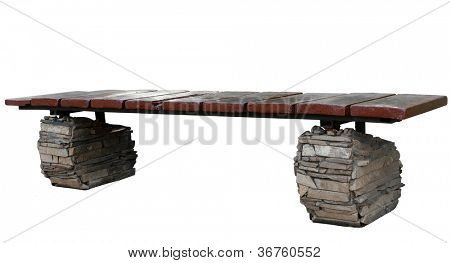 decorative park bench on stone legs . Isolated over white background .
