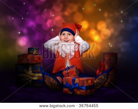 Worried Little Gnome With Gift Boxes