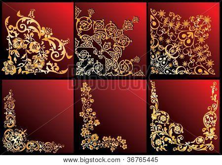 Ilustración con la colección de esquinas floral sobre fondo rojo