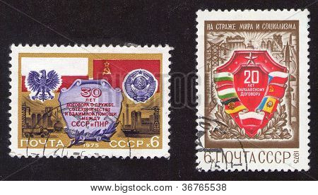 USSR - CIRCA 1975: Two stamps printed in USSR