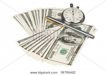 Heap of dollars with stopwatch isolated on a white background