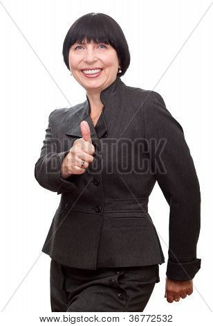 Smiling Business Woman Showing Thumb Up.