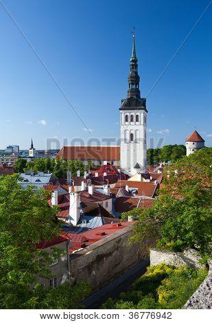 View on St. Nicholas' Church (Niguliste). Old city Tallinn Estonia