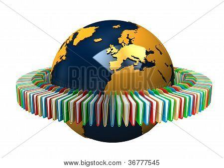 Globe With Folders