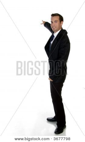 Smart Businessman Pointing Sideways